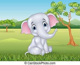 bébé, rigolote, dessin animé, éléphant