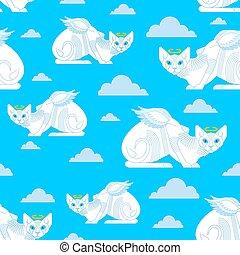 bébé, schéma structure, ange, texture, seamless., chat, arrière-plan., blanc, ailes