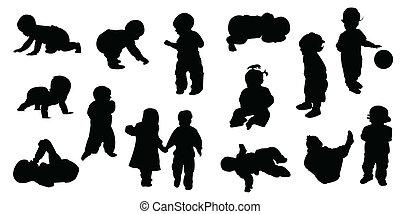 bébé, silhouettes, -