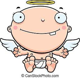 bébé, sourire, dessin animé, ange