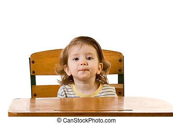 bébé, tôt, séance, garçon, bureau, école, education