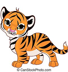 bébé, tigre, marche