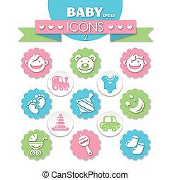 bébé, universel, collection, icônes