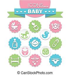 bébé, universel, icônes