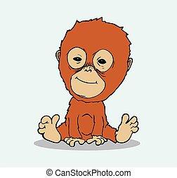 bébé, vecteur, dessin animé, orang-outan