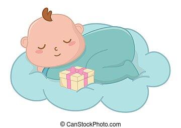 bébé, vecteur, nuage, illustration, dormir