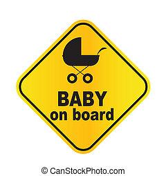 bébé, vecteur, planche, illustration, signe