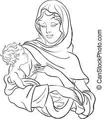 bébé, vierge, prise, marie, jésus