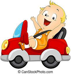 bébé, voiture, conduite