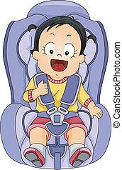bébé, voiture, girl, siège