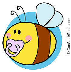 bébé, voler, caractère, abeille