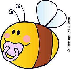 bébé, voler, caractère, dessin animé, abeille