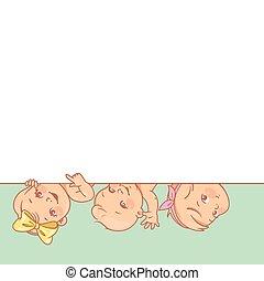 bébés, mignon, texte, peu, vide, frame.