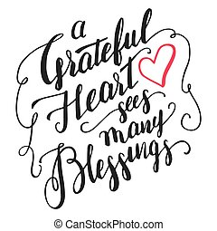 bénédictions, calligraphie, coeur, reconnaissant, voit, beaucoup