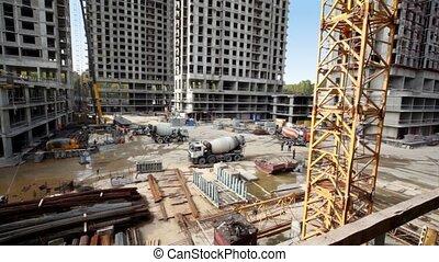 béton, beaucoup, ouvriers, site, maisons, construction, mélangeurs