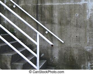 béton, blanc, étapes, balustrade