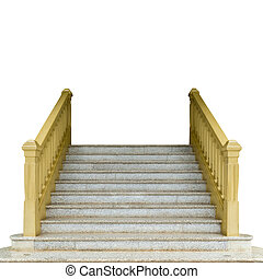 béton, blanc, isoler, escalier