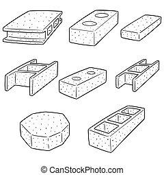 béton, construction, vecteur, ensemble, bloc