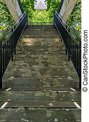 béton, fer, escalier, balustrade
