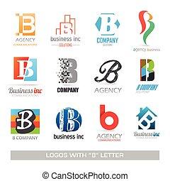 b, ensemble, lettre, icones affaires