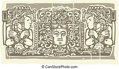 b, maya, triptyque, woodblock