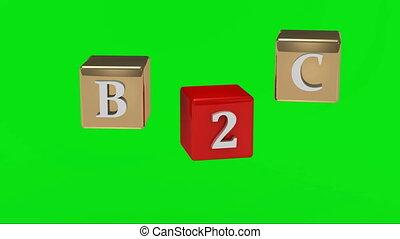 b2c, vert, inscription, écran