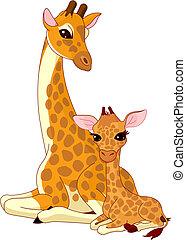 baby-giraffe, mother-giraffe