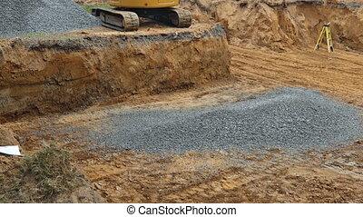 backfilling, pierre, tranchée, excavateur, seau, fondation, backfill