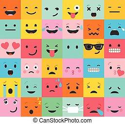 backgound, modèle, emoticons, coloré, ensemble, plat, emoji
