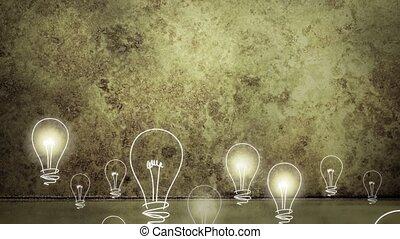 backgr, ampoules, levée, grungy, lumière