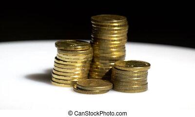 backgr, rotation, monnaie, noir, tas