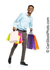 backgr, sacs, achats, américain, tenue, africaine, blanc, homme, heureux