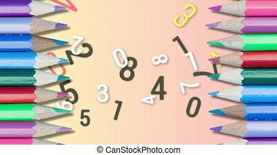 backgro, changer, nombres, contre, coloré, numérique, alphabets, crayons, rose, animation, multiple