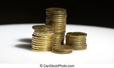 backgrou, monnaie, noir, jaune, tas
