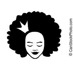 background.princess.queen.t, illustration, isolé, blanc, fille femme, dame, chemise, silhouette, dessin, américain, cheveux, couronne, bouclé, dessiné, vecteur, figure, print.sticker, main, beau, tête, africaine, noir