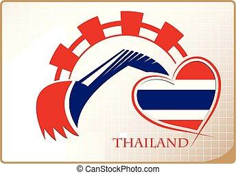 backhoe, drapeau thaïlande, fait, logo
