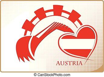 backhoe, logo, autriche, fait, drapeau