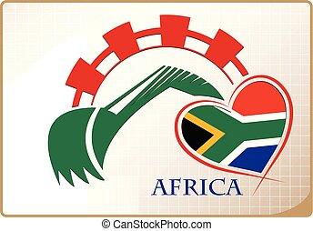 backhoe, logo, drapeau, fait, afrique