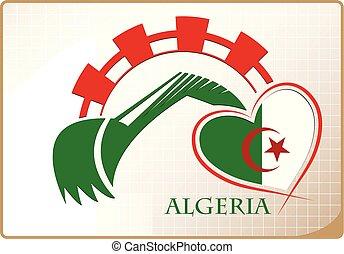 backhoe, logo, drapeau, fait, algérie