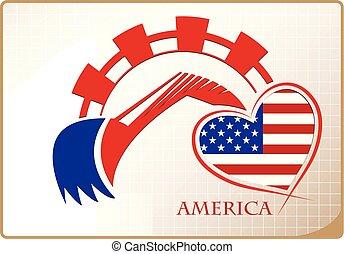 backhoe, logo, drapeau, fait, amérique