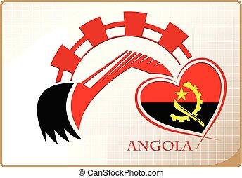 backhoe, logo, drapeau, fait, angola