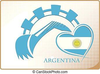 backhoe, logo, drapeau, fait, argentine