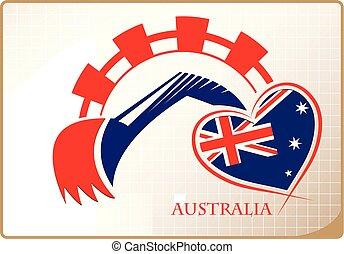 backhoe, logo, drapeau, fait, australie