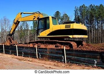 backhoe, site construction