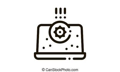 bactérie, détection, animation, ordinateur portable, icône