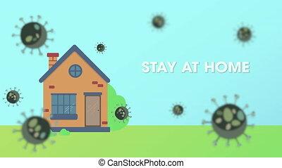 """bacteria., coronavirus, home"""", covid-19, apartment., texte, """"stay, protège, arrière-plan animation, diffusion, ne pas pouvoir, maison, entrer, contre"""