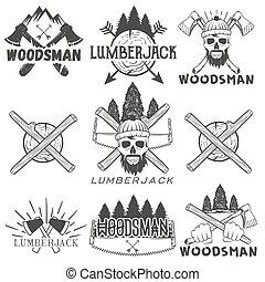 badges., crâne, ensemble, logos, bannières, bûcheron, étiquettes, bois brûler, isolé, illustration, vecteur, hache, forêt, monochrome, silhouette, woodsman, scie, ou, emblèmes