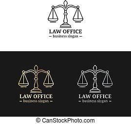 badges., justice, logos, droit & loi, avocat, illustration., bureau, ensemble, balances, avocat, vecteur, étiquettes, firme, vendange, juridique