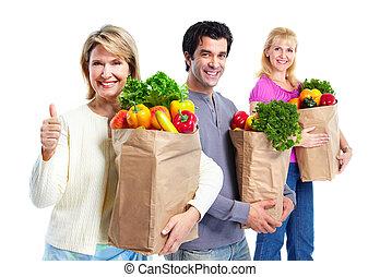 bag., épicerie, heureux, achats, gens