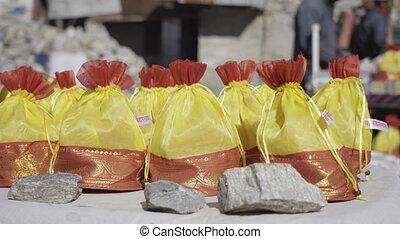 (bag), offres, décoratif, petit, saint, temple, poche, kedarnath